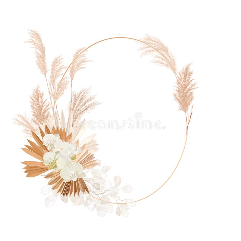 Free Wedding Dried Lunaria, Orchid, Pampas Grass Floral Wreath. Vector Exotic Dried Flowers, Palm Leaves Boho Royalty Free Stock Images - 202149709