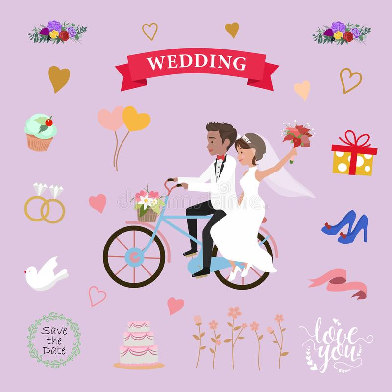 Wedding elements set 1 royalty free illustration