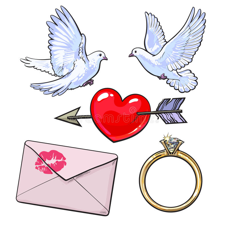 Wedding, engagement icon set with doves, heart, ring, love letter. Wedding, engagement icon set with doves, arrow pierced heart, golden ring and love letter royalty free illustration