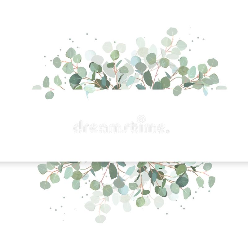 Wedding eucalyptus horizontal vector design banner. vector illustration