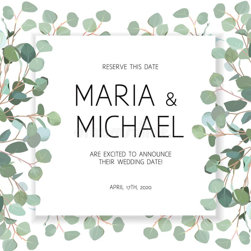 Download Wedding Eucalyptus Square Vector Design Banner Frame Stock