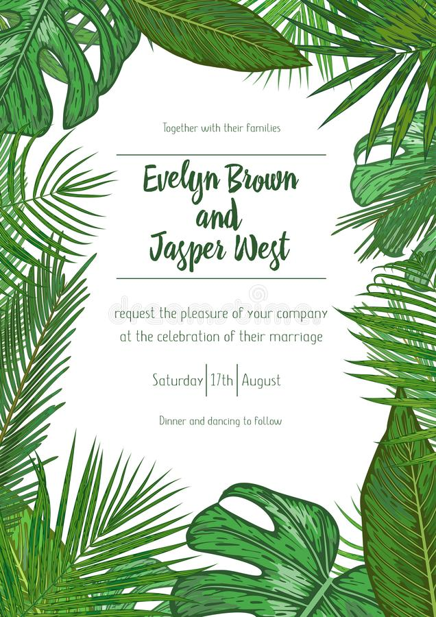 Wedding event invitation card template. Exotic tropical jungle r royalty free illustration