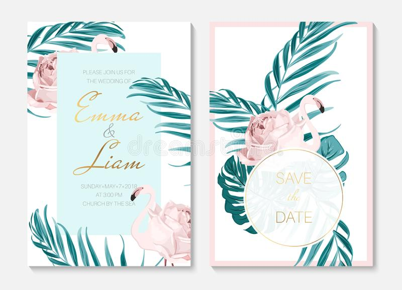 Wedding event invitation cards template set. Exotic pink flamingo birds. Body shape as rose flower. Green palm leaves. royalty free illustration