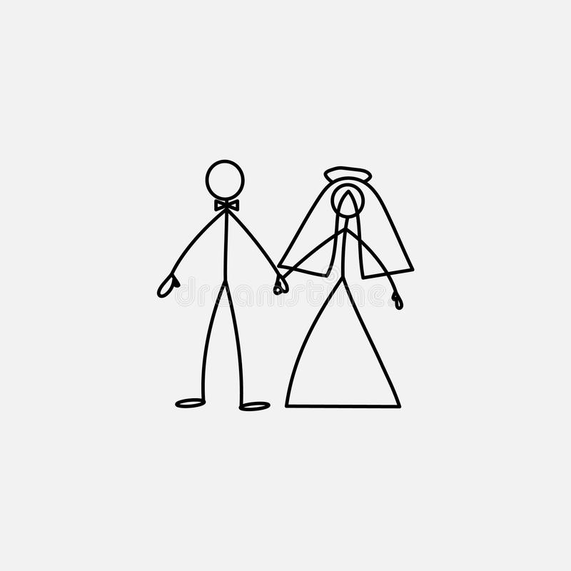 Wedding family icon stick figure vector illustration