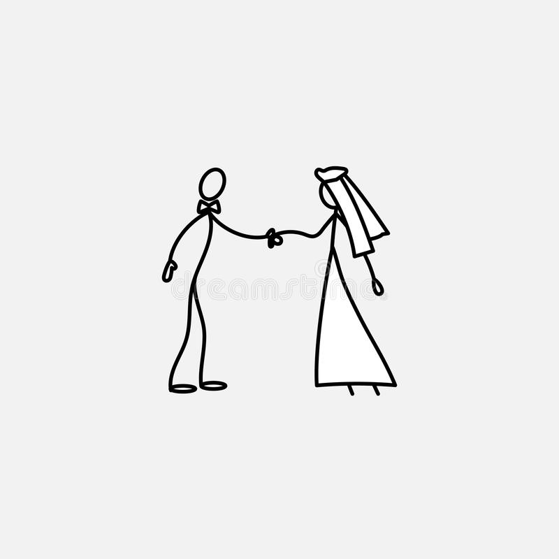 Wedding family icon stick figure vector vector illustration