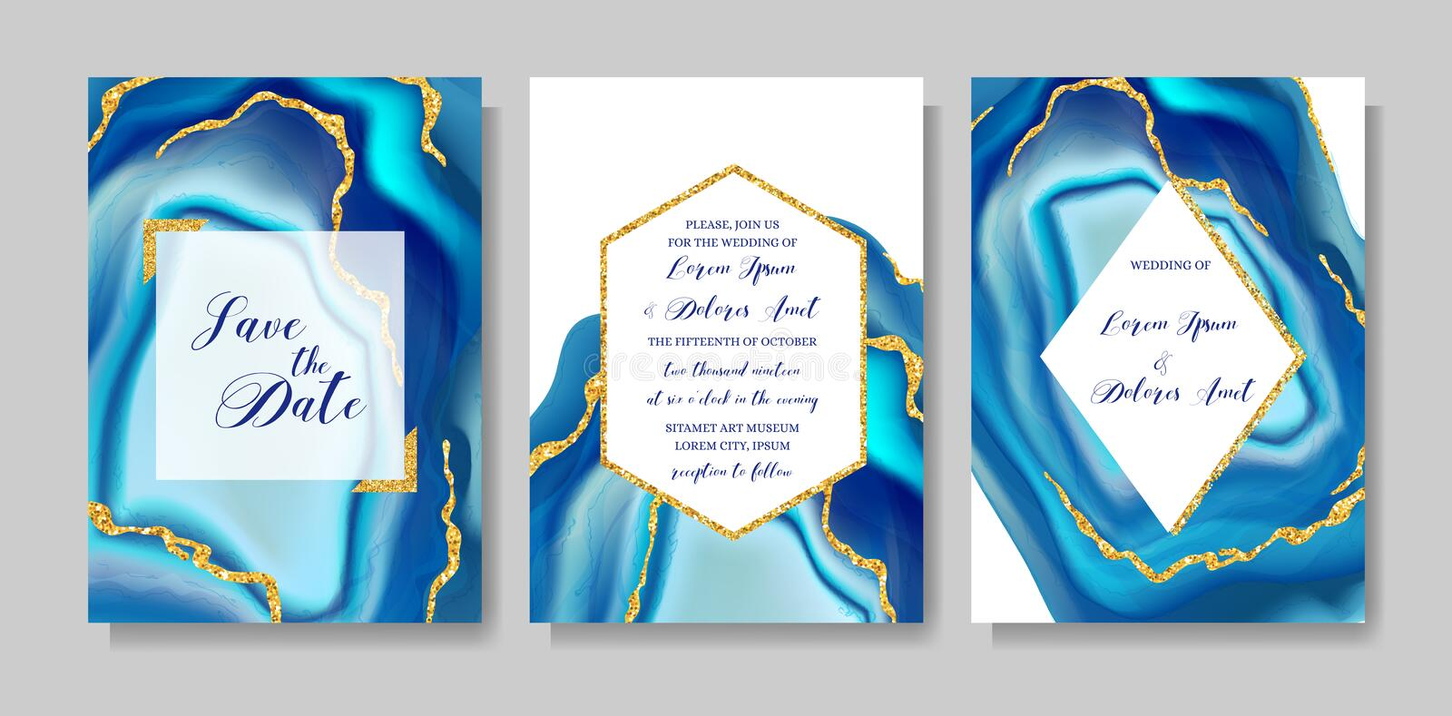 Wedding fashion geode or marble template, artistic covers design, colorful texture realistic backgrounds. Trendy pattern royalty free illustration
