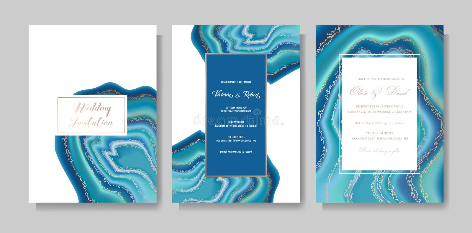 Wedding fashion geode or marble template, artistic covers design, colorful texture, realistic backgrounds Trendy pattern royalty free illustration