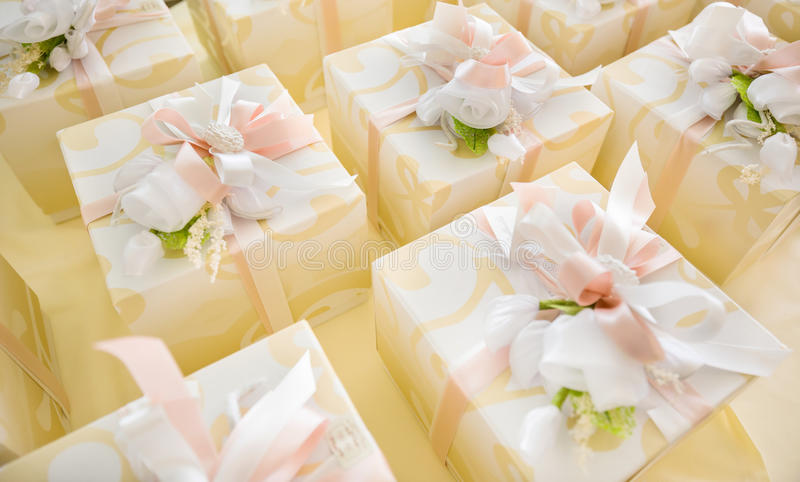 Wedding favors. Elegant wedding gifts for guest stock photos