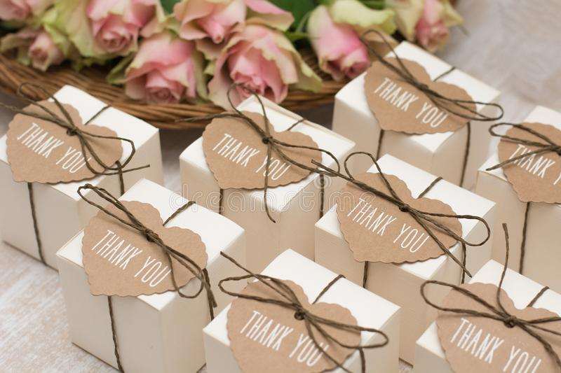 Wedding favors. With label `thank you stock photography
