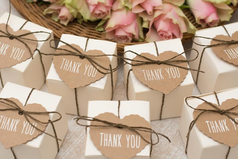 Wedding favors. With label `thank you stock images
