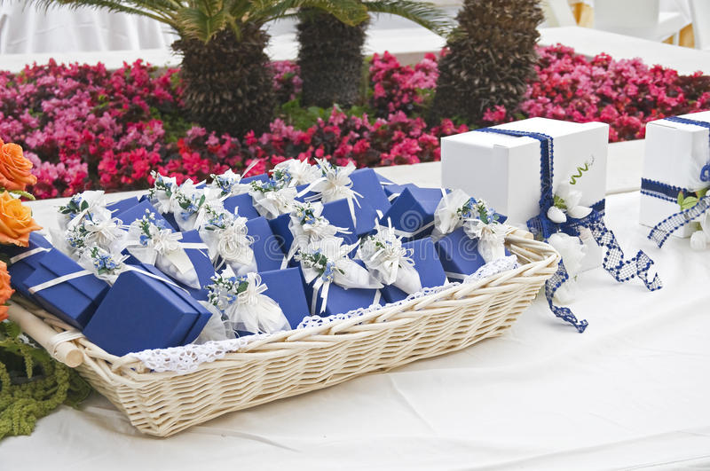 Wedding favors wicker. stock photo