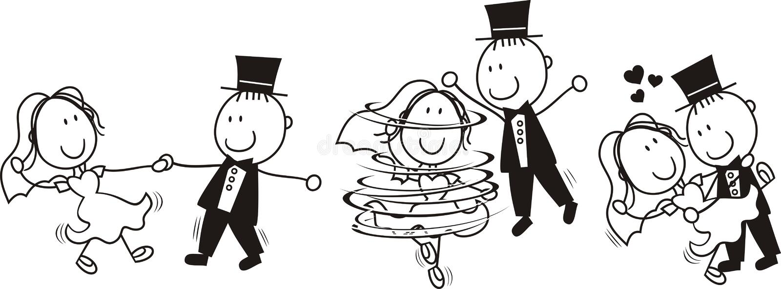 Wedding first dance. Set of isolated cartoon bride and groom first dance wedding, ideal for funny invitation