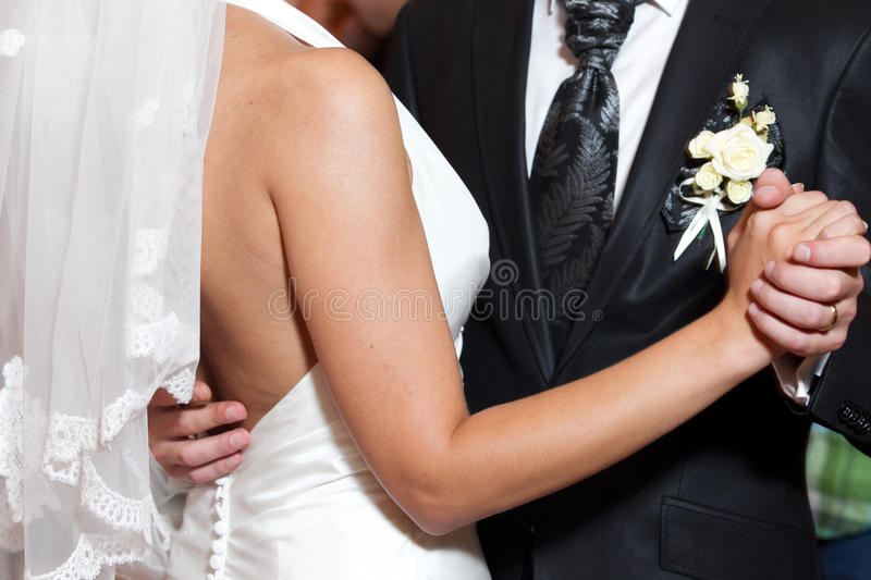 Wedding first dance. Young couple on the first dance in a wedding ceremony stock photography