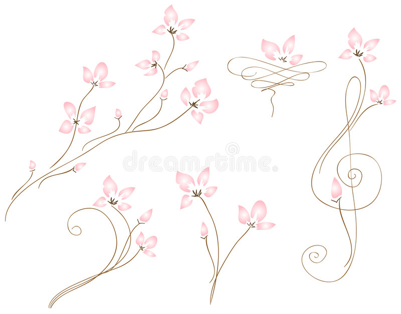 Wedding Fleurs. Delicate blossoms weave themselves gracefully onto the page. Beautifully simplistic would make a charming bridal invitation set. Great for note