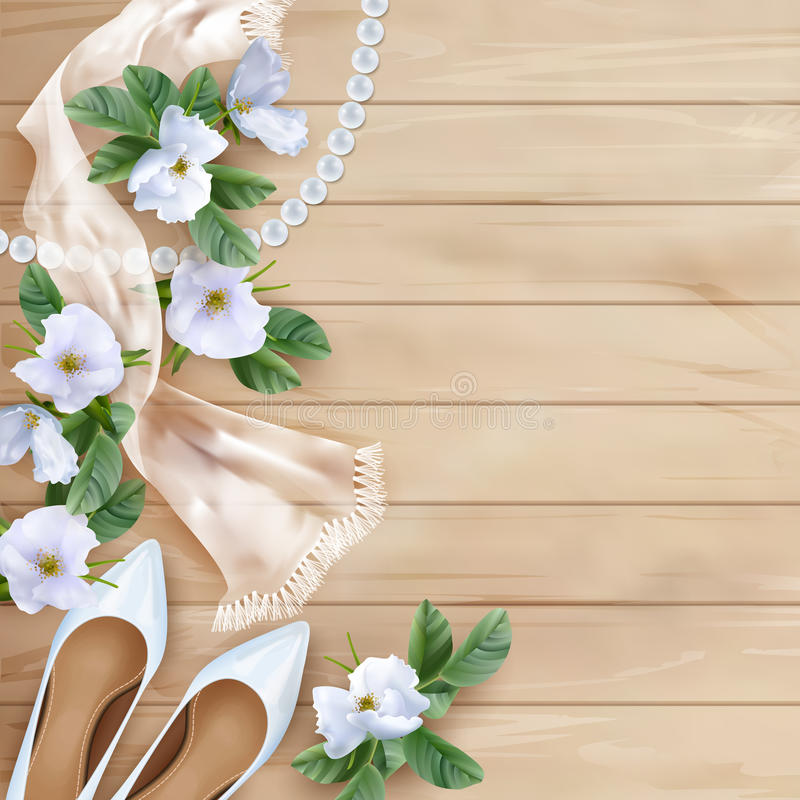 Wedding Floral Background. Wedding floral top view background with white flowers, shoes, silk scarf, pearl beads on a wooden table vector illustration