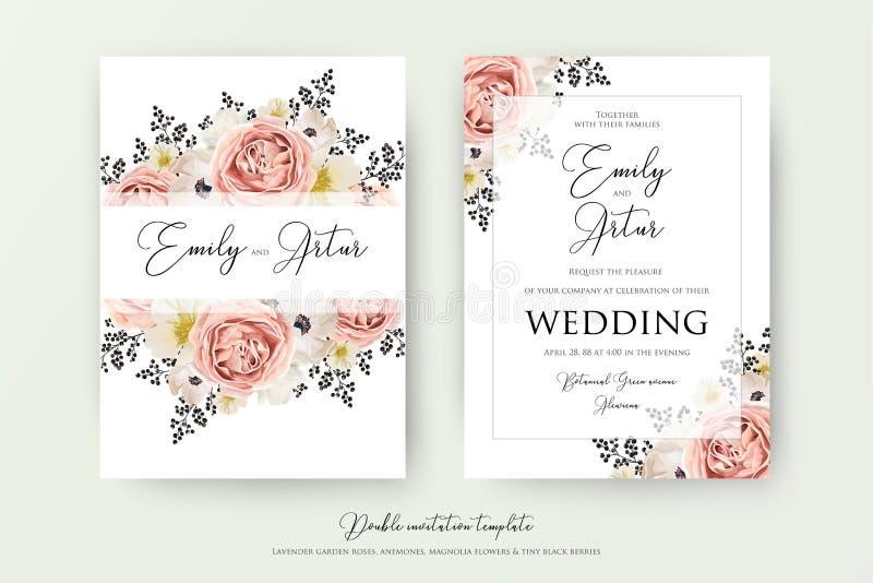 Wedding floral double watercolor invite, invitation, save the da. Te card design. Pink peach garden rose, white anemones, magnolia flowers & black berries vector illustration