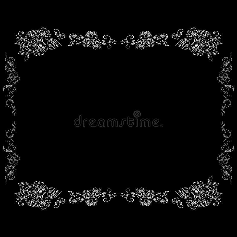 Wedding floral frame in vintage style isolated on black background. Nature illustration. Wedding pattern. Vector vintage. Illustration. Floral frame design vector illustration