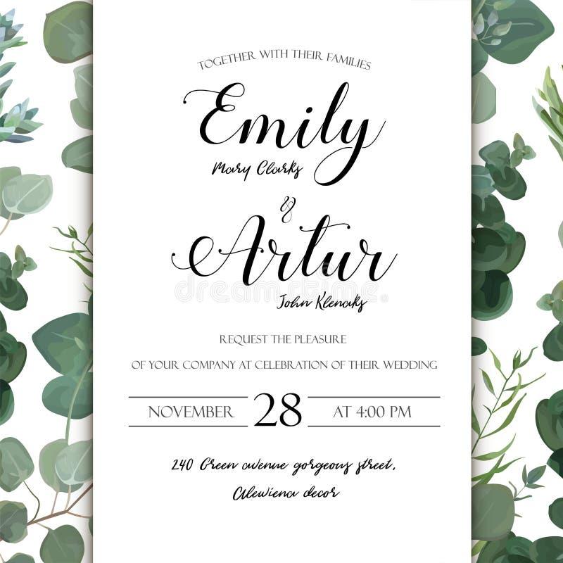 Wedding floral hand drawn invite invitation card design: Eucalyptus silver succulent cactus greenery natural leaves watercolor ru. Stic elegant delicate green stock illustration