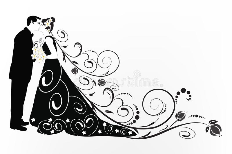 Bride And Groom kissing wedding invitation card royalty free illustration