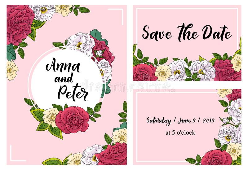 Wedding floral invitation card, save the date design with pink, red flowers - roses and green leaves wreath and frame. Botanical. Elegant decorative vector stock images