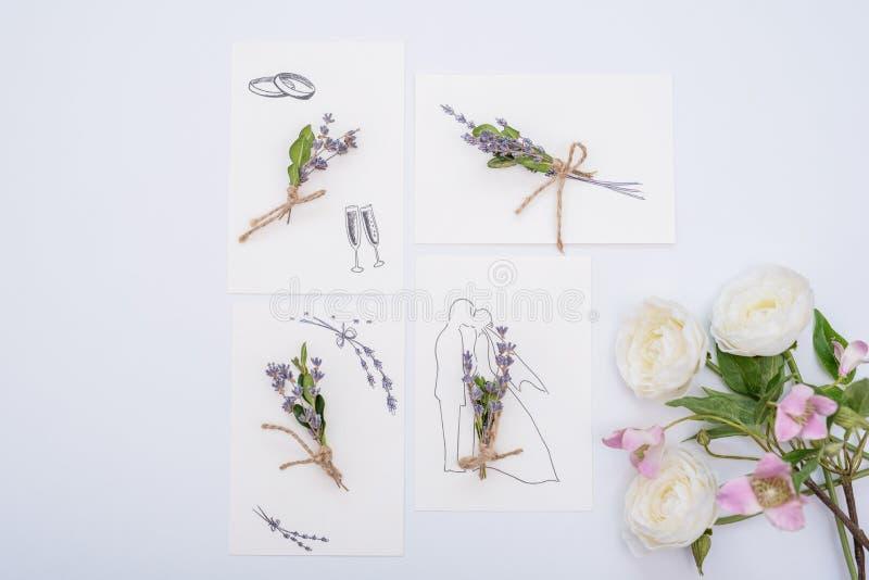 Wedding floral invitation card save the date minimalism design with green leaf herbs. Botanical elegant decorative stock photo