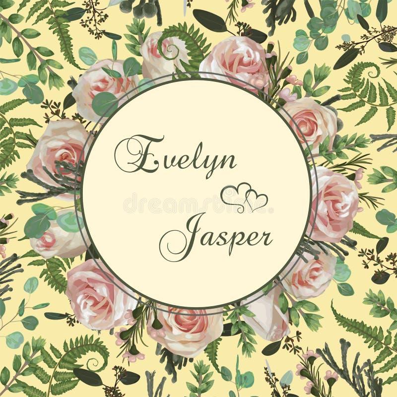 Wedding floral invitation, invite card. Vector watercolor set green forest fern, brunia, herbs, flowers, eucalyptus, branches. Wedding floral invitation, invite stock illustration