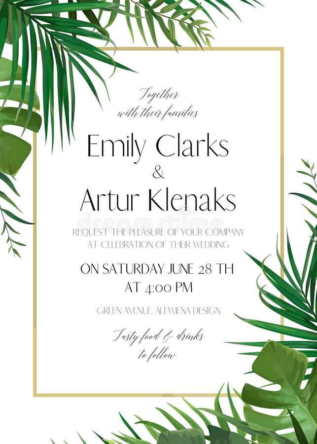 Free Wedding Floral Invitation, Invite Card With Vector Watercolor St Royalty Free Stock Photography - 113885447
