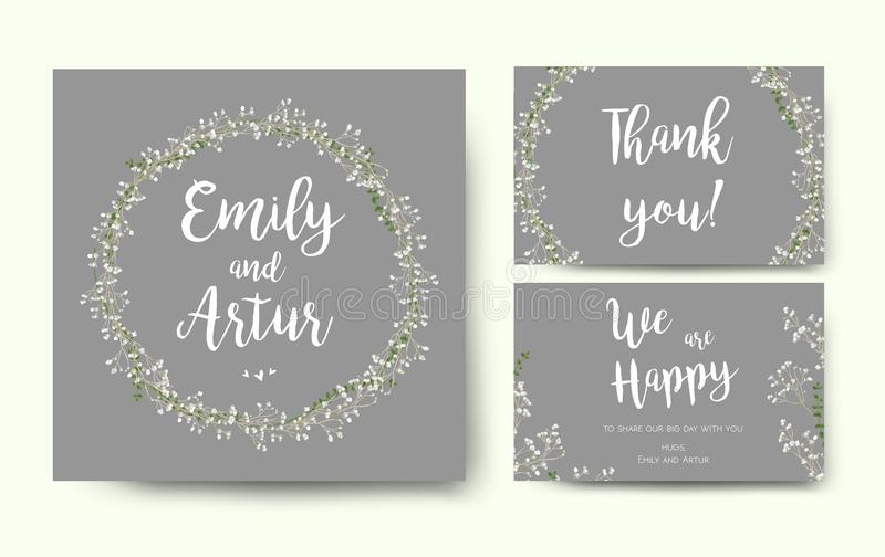Wedding floral invitation invite flower card silver gray design royalty free illustration