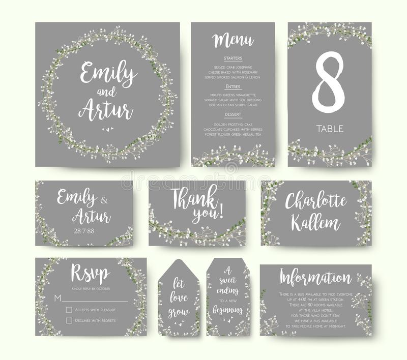 Wedding floral invitation invite flower card silver gray design: stock illustration