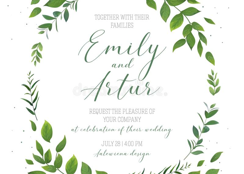 Wedding floral invitation, invite, save the date card vector template. Modern rustic, eco style design with watercolor botanical. Green leaves, forest tree stock illustration