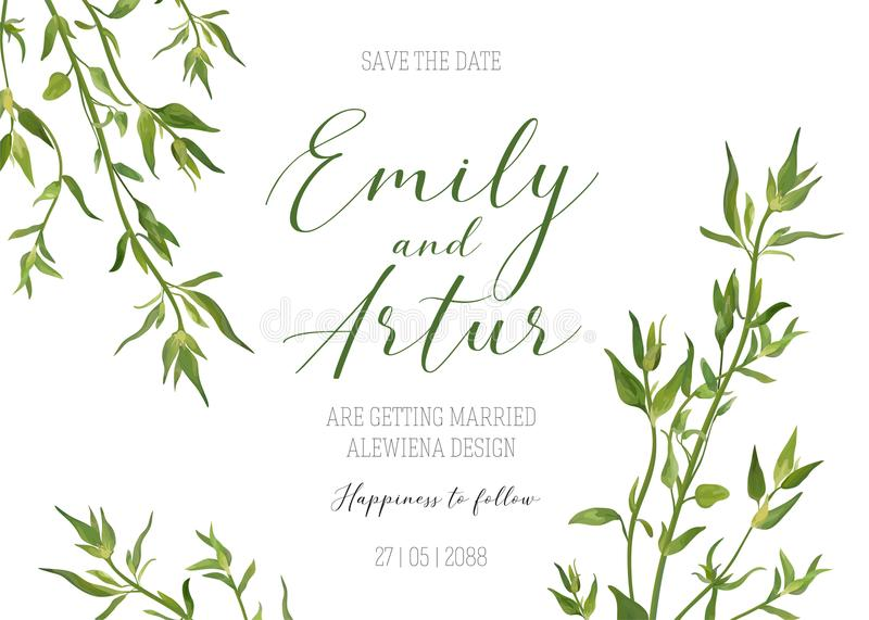 Wedding floral invitation, invite, save the date template. Vector modern elegant card design with natural, watercolor botanical g. Reen thyme greenery herbs vector illustration