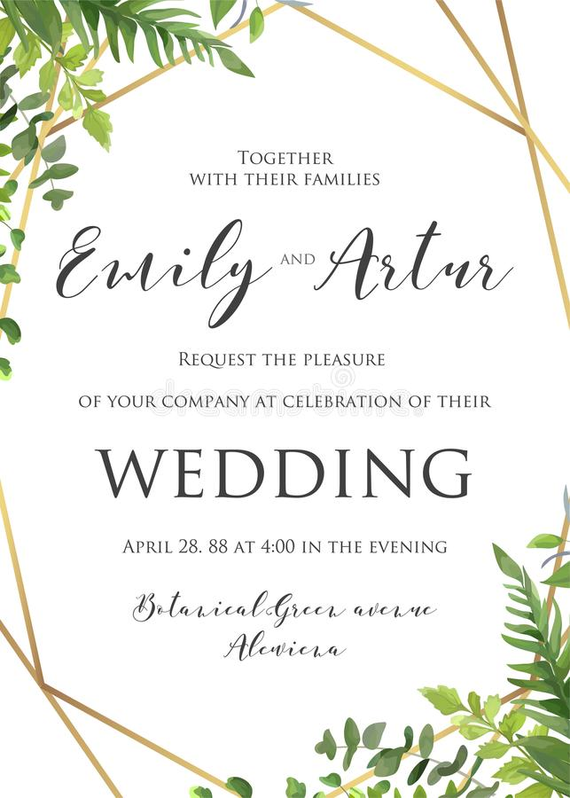 Wedding floral invitation, invite, save the date template. Vector modern elegant card design with natural botanical Green forest. Fern leaves & greenery herbs stock illustration
