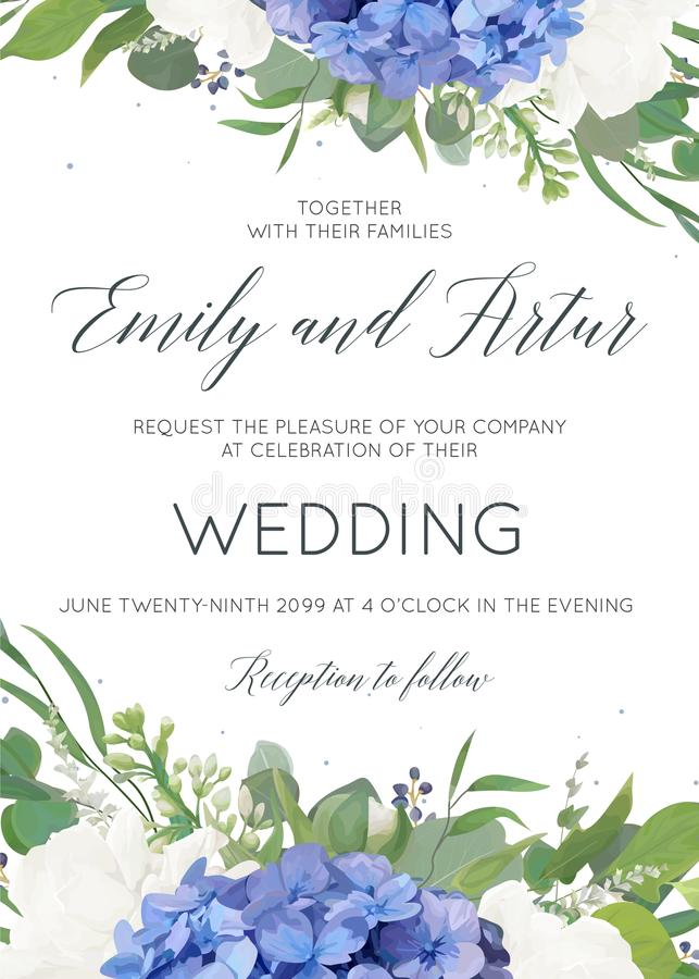 Wedding floral invite, invitation, card design with elegant bouquet of blue hydrangea flowers, white garden roses, green eucalyptu. S, lilac branches, greenery royalty free illustration
