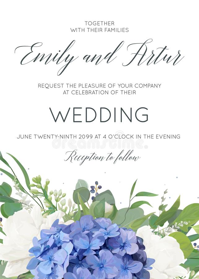 Wedding floral invite, invitation, card design with elegant bouquet of blue hydrangea flowers, white garden roses, green eucalyptu. S, lilac branches, greenery stock illustration