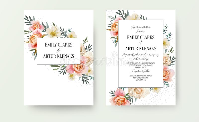 Wedding floral invite, invitation card design: garden pink peach, orange Rose, yellow white Magnolia flower, Eucalyptus, green Oli stock illustration