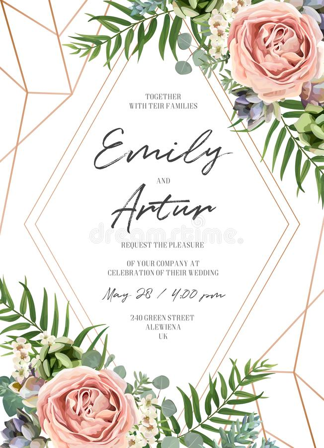 Wedding floral invite invitation card design. Lavender pink garden rose, green tropical palm leaf, succulent plant, greenery royalty free illustration