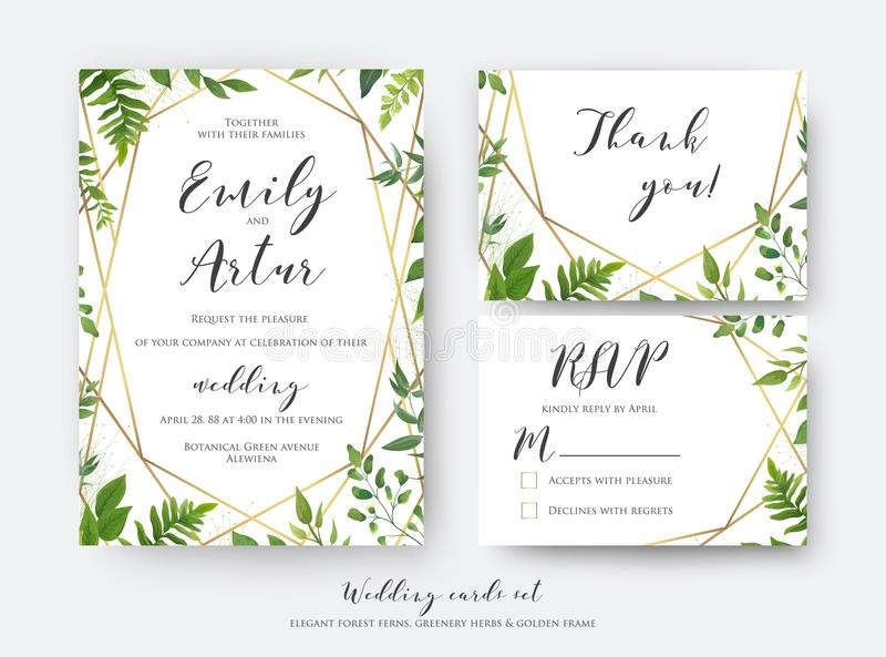 Wedding floral invite, invitation, rsvp, thank you card template. Set. Vector modern, botanical card design with green forest fern leaves, greenery herbs border royalty free illustration