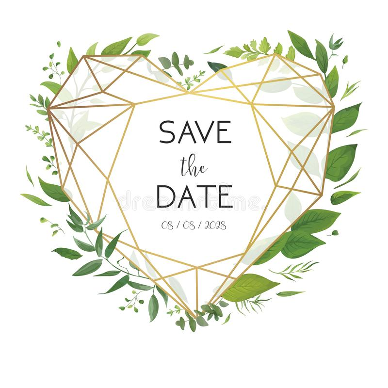 Wedding floral invite, invitation, save the date card design. Luxury, golden geometrical heart shape frame & fresh forest. Wedding floral invite, invitation vector illustration