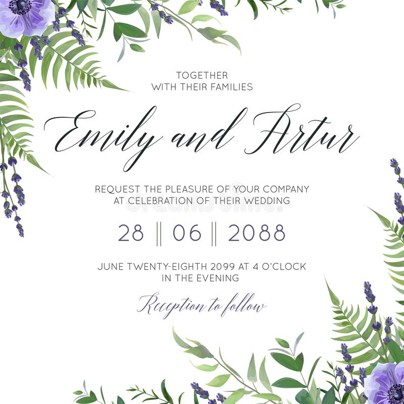 Wedding floral invite, invitation save the date card design with watercolor lavender blossom, violet anemone flowers, forest gree. Nery fern fronds, plants