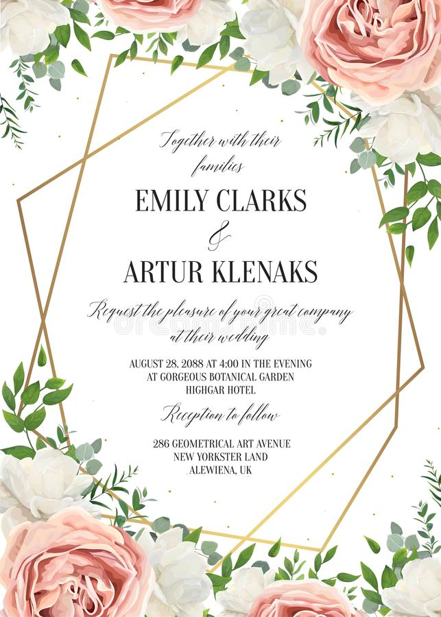 Free Wedding Floral Invite, Invtation Card Design. Watercolor Blush P Stock Images - 118133724