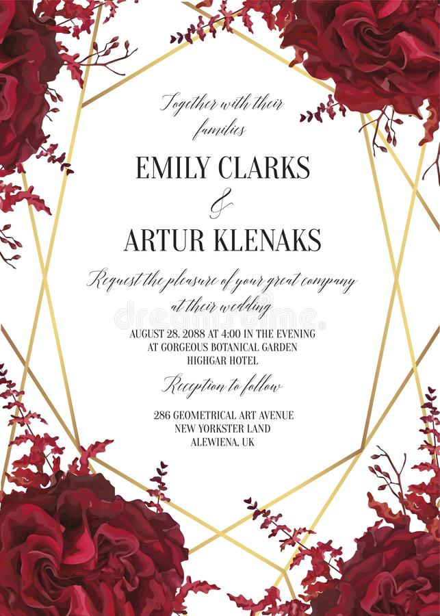 Free Wedding Floral Invite, Invtation Card Design. Watercolor Marsala Red Garden Rose Blossom, Amaranthus Flower & Burgundy Eucalyptus Stock Image - 119913671