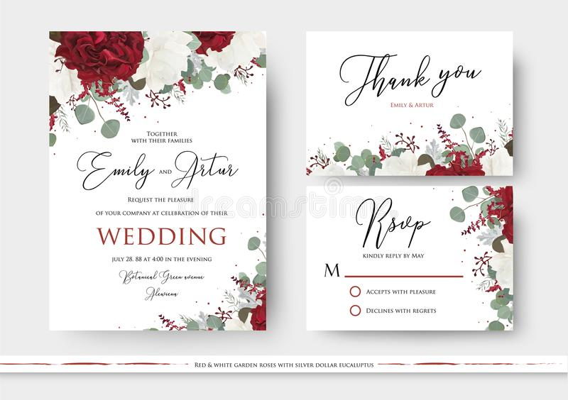 Wedding floral invite, save the date, thank you, rsvp card design with red and white garden rose flowers, seeded eucalyptus. Branches, green leaves, amaranthus stock illustration