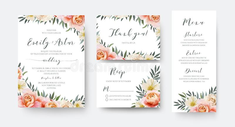 Wedding floral invite, thank you, rsvp menu card design with gar. Den pink peach, orange Rose, yellow white Magnolia flower, Eucalyptus, green Olive tree leaves vector illustration