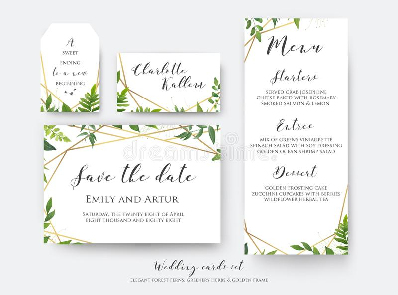 Wedding floral save the date, menu, place card & label template stock illustration