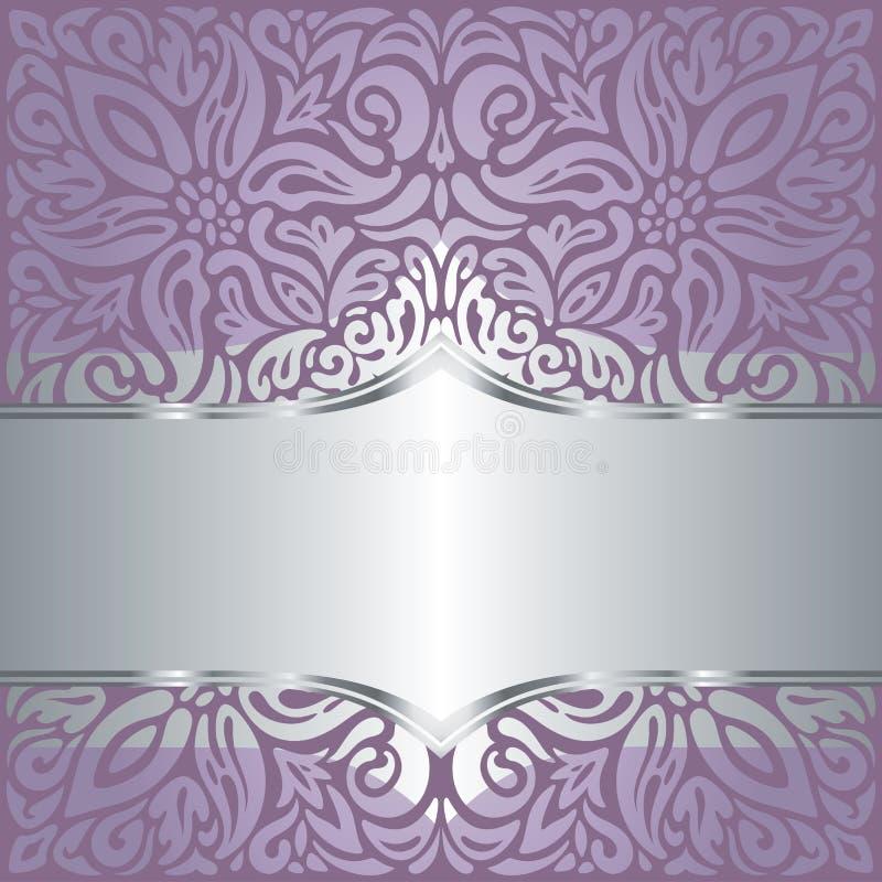 Wedding Floral violet silver vector holiday background invitation design fashionable decorative retro mandala stock illustration