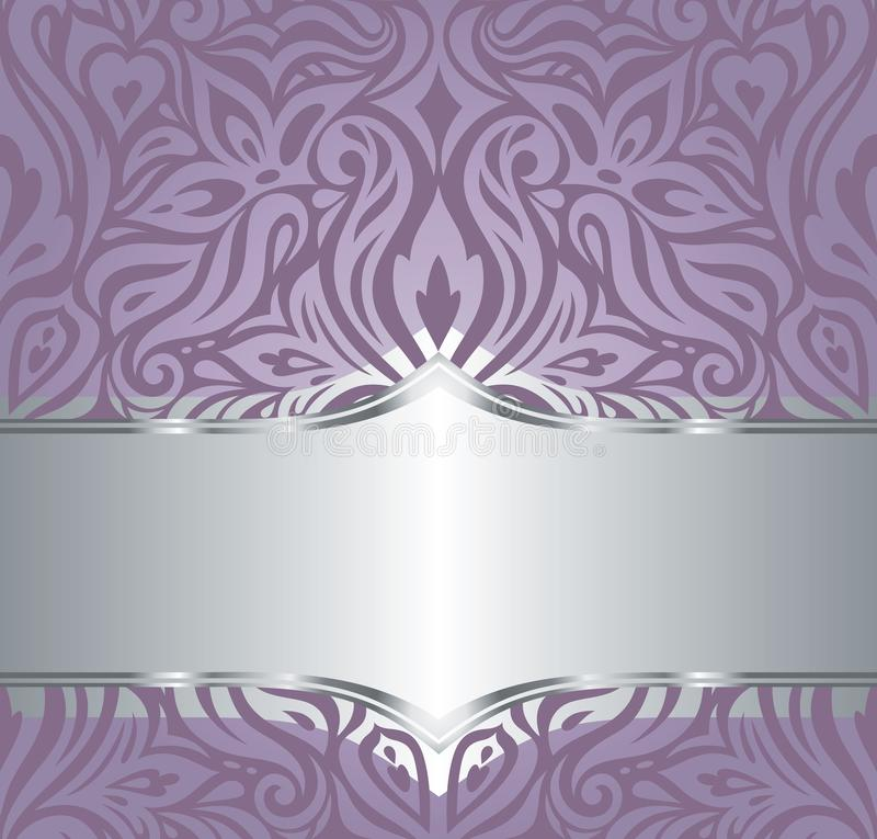 Wedding Floral violet silver vector holiday background invitation design fashionable decorative retro vector illustration