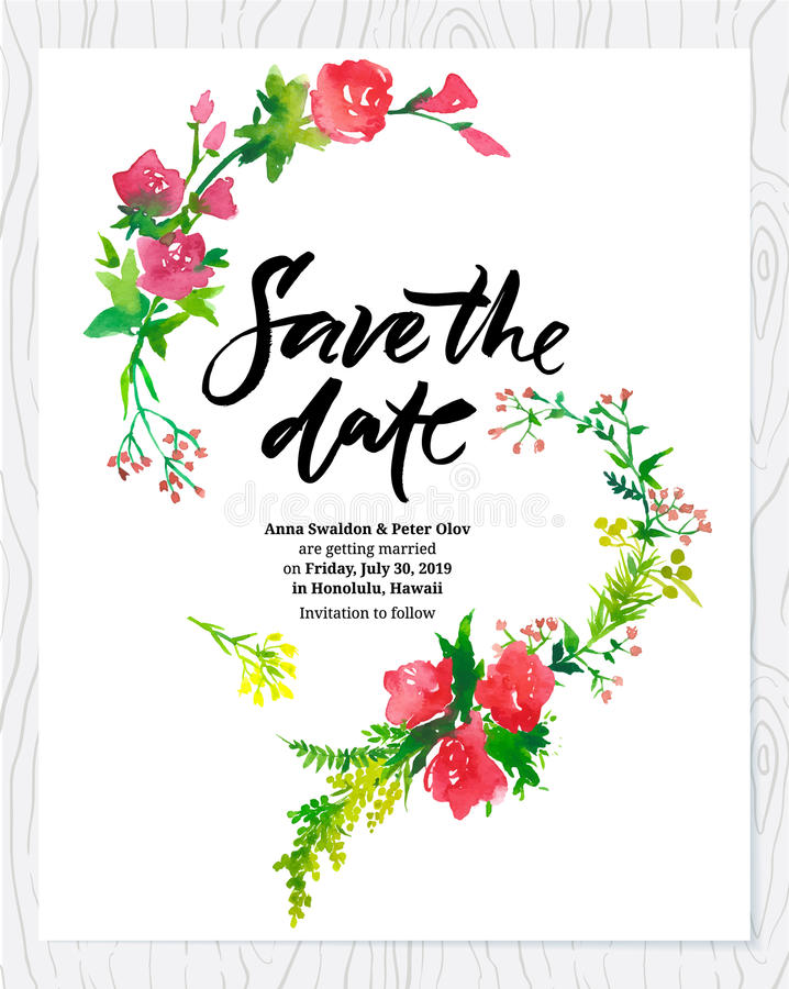 Free Wedding Floral Watercolor Card Save The Date. Royalty Free Stock Image - 45460256