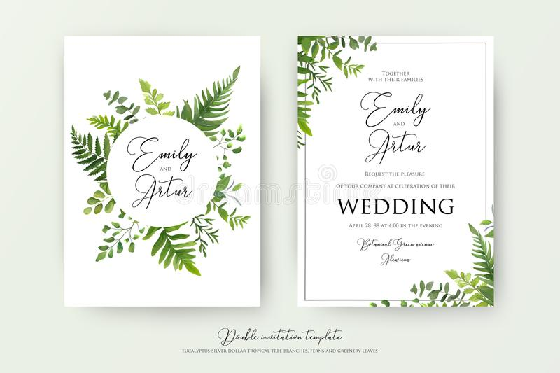 Wedding floral watercolor style double invite, invitation, save. The date card design with forest greenery herbs, leaves, eucalyptus branches, fern fronds royalty free illustration