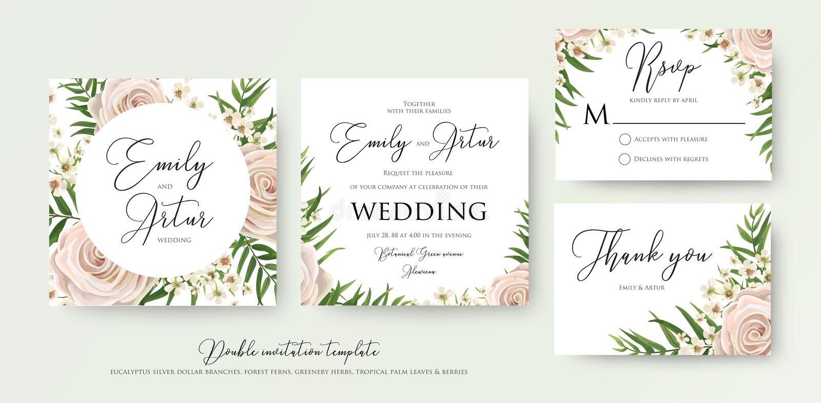 Wedding floral watercolor style double invite, rsvp, thank you c. Ard design with pink, creamy white garden rose, wax flowers, green tropical palm tree leaves stock illustration
