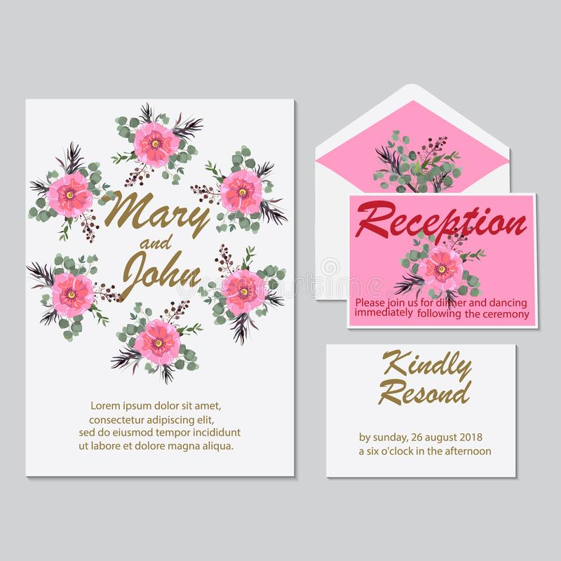 Wedding floral watercolor style invite, rsvp save date thanks ca royalty free illustration